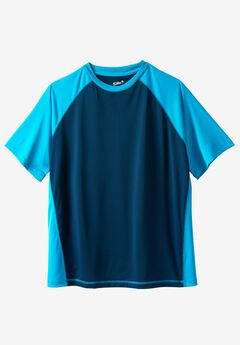 Raglan Sleeve Swim Shirt, NAVY ELECTRIC TURQUOISE, hi-res