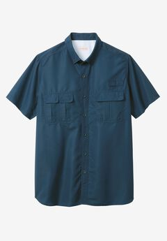 Off-Shore Short-Sleeve Sport Shirt by Boulder Creek®, BLUE INDIGO, hi-res