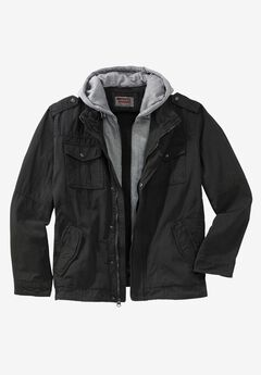 Hooded Military Trucker Jacket by Levi's®, BLACK, hi-res