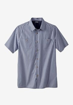 Short Sleeve Striped Shirt, NAVY STRIPE, hi-res