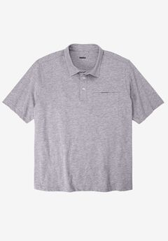 Shrink-Less™  Lightweight Short-Sleeve Polo Tee, HEATHER GREY