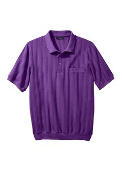 Banded Bottom Textured Polo Shirt, PURPLE, hi-res