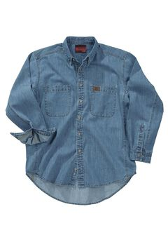 Long-Sleeve Denim Work Shirt by Wrangler®, ANTIQUE, hi-res