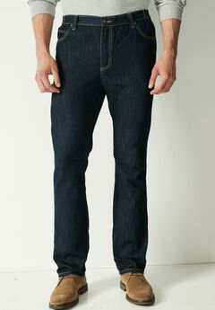 Relaxed Tapered Fit Side Elastic 5-Pocket Jeans by Liberty Blues®, DARK INDIGO