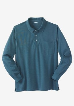 Long-Sleeve Piqué Polo Shirt , HEATHER MIDNIGHT TEAL
