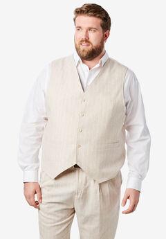 Linen Blend 5 Button Suit Vest by KS Island™, NATURAL PINSTRIPE