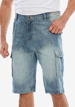 Denim Cargo Shorts by Liberty Blues®, LIGHT INDIGO, hi-res