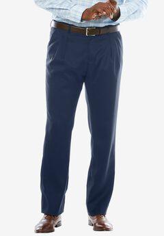 Easy-Care Modern Fit Expandable Waist Double Pleat Front Pants, NAVY, hi-res