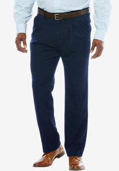 No Hassle® Classic Fit Expandable Waist Double-Pleat Dress Pants by KS Signature, NAVY