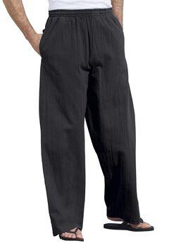 Elastic Waist Gauze Cotton Pants, BLACK, hi-res
