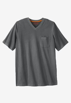 Heavyweight Pocket V-Neck Tee by Boulder Creek®, STEEL, hi-res