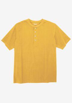 Heavyweight Short-Sleeve Henley Shirt by Boulder Creek®, BOULDER YELLOW, hi-res