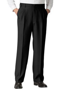 Easy-Care Classic Fit Expandable Waist Double-Pleat Front Dress Pants, BLACK, hi-res