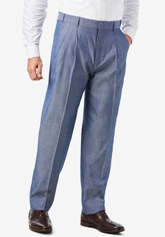 Easy-Care Modern Fit Expandable Waist Double Pleat Front Pants,