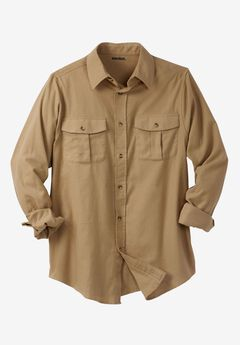 Solid Double-Brushed Flannel Shirt, KHAKI