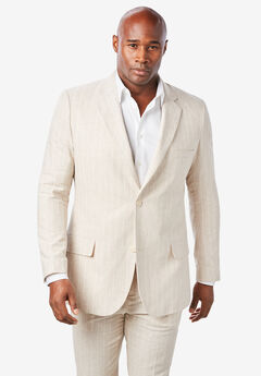 Linen Blend Two-Button Suit Jacket by KS Island™, NATURAL PINSTRIPE
