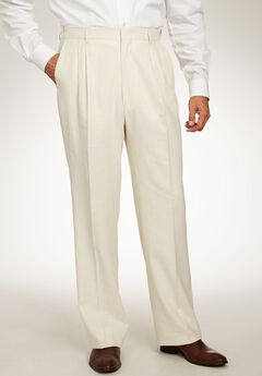 Linen Blend Double-Pleat Front Pants by KS Island™, NATURAL PINSTRIPE, hi-res