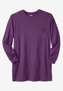 Shrink-Less™ Lightweight Longer-Length Long-Sleeve Crewneck Pocket Tee, EGGPLANT, hi-res
