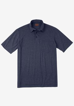 Heavyweight Jersey Polo Shirt, HEATHER NAVY, hi-res