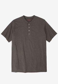 Heavyweight Longer-Length Short-Sleeve Henley Shirt by Boulder Creek®, HEATHER SLATE, hi-res