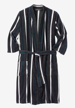 Terry Velour Kimono Robe, MULTI STRIPE, hi-res
