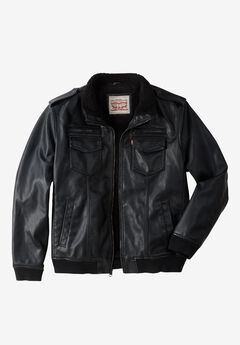 Faux Leather Sherpa-Lined Aviator Bomber Jacket by Levis®,
