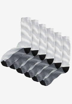 3-Pack Full Length Cushioned Crew Socks, WHITE, hi-res
