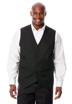 Easy Movement 5 Button Suit Vest by KS Signature, BLACK, hi-res