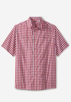 Short-Sleeve Plaid Sport Shirt, TRUE RED CHECK