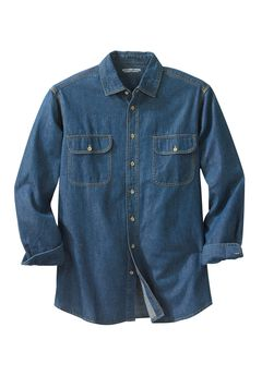 Long-Sleeve Renegade Shirt by Boulder Creek®, STONEWASH DENIM