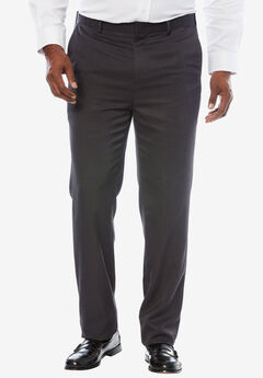 No Hassle® Modern Fit Expandable Waist Plain Front Dress Pants, HEATHER CHARCOAL, hi-res