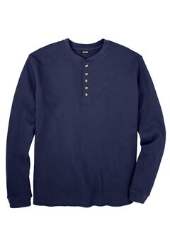 Waffle Knit Thermal Henley Tee, NAVY