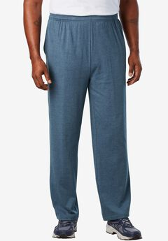 Lightweight Open-Bottom Sweats, HEATHER SLATE BLUE