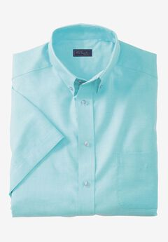 Wrinkle-Resistant Short-Sleeve Oxford Shirt by KS Signature®, LIGHT TEAL