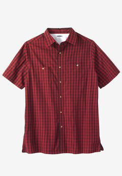 Easy-Care Short-Sleeve Plaid Sport Shirt, RICH BURGUNDY CHECK
