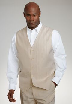 Linen Blend 5 Button Suit Vest by KS Island™, NATURAL PINSTRIPE, hi-res