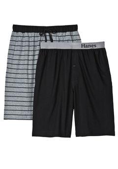 Hanes® 2-Pack Knit Sleep Shorts, BLACK GREY STRIPE, hi-res