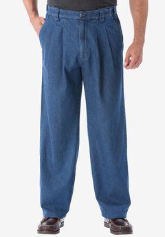 Relaxed Fit Comfort Waist Pleat-Front Expandable Jeans, STONEWASH, hi-res