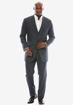 Easy Movement® Three-Button Jacket by KS Signature, CHARCOAL PINSTRIPE
