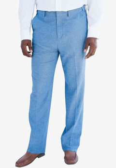 Linen Blend Plain Front Pants by KS Island™,