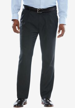 No Hassle® Classic Fit Expandable Waist Double-Pleat Dress Pants by KS Signature, HEATHER CHARCOAL, hi-res