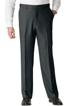 Easy-Care Classic Fit Expandable Waist Plain Front Dress Pants, HEATHER CHARCOAL, hi-res