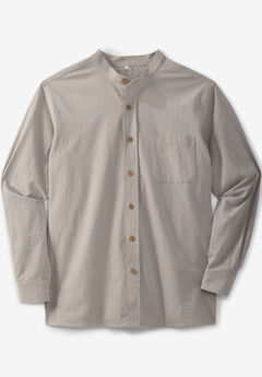 Gauze Mandarin Collar Button-Down Shirt,