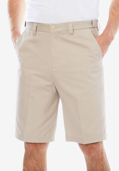 Classic Fit Wrinkle Free Expandable Waist Plain Front Shorts,