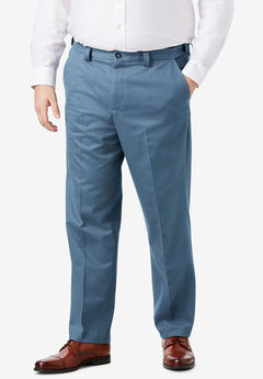 Classic Fit Wrinkle Free Expandable Waist Plain Front Pants,
