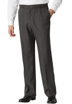 Easy-Care Classic Fit Elastic Waist Plain Front Dress Pants, HEATHER CHARCOAL, hi-res