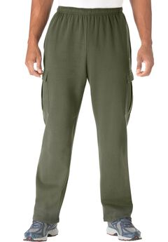 Wicking Fleece Cargo Pants by KS Sport™, OLIVE, hi-res
