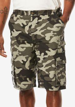 Ranger Side-Elastic Cargo Shorts by Boulder Creek®, BLACK CAMO, hi-res