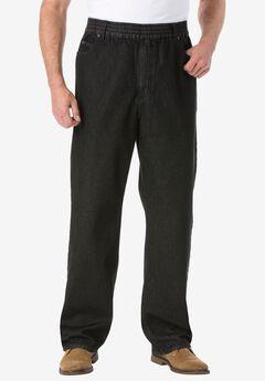 Loose Fit Comfort Waist Jeans , BLACK DENIM