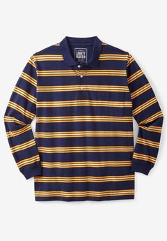 Long-Sleeve Polo by Liberty Blues®, GOLDEN YELLOW STRIPE